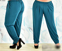 Женские брюки на резинке бирюзовые, с 60-70 размер, фото 1