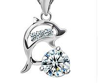 Серебряный кулон Дельфин с белым камнем стерлинговое серебро 925 пробы, фото 1