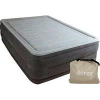 Надувная кровать велюр с насосом 220V Intex 64418