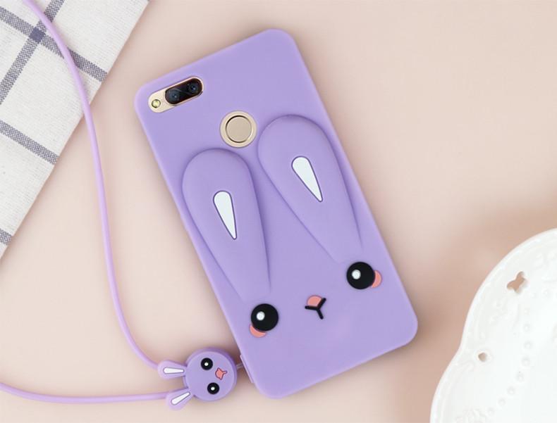 Чехол Funny-Bunny 3D для Xiaomi Mi A1 / Mi5X Бампер резиновый сиреневый