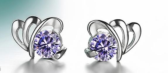 Серебряные серьги Бабочка с фиолетовым камнем сережки из стерлингового серебра 925 проба