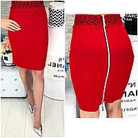 Стильная юбка карандаш с кружевом 42-48 р красный