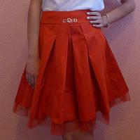Детская школьная юбка Мальвина красная оптом