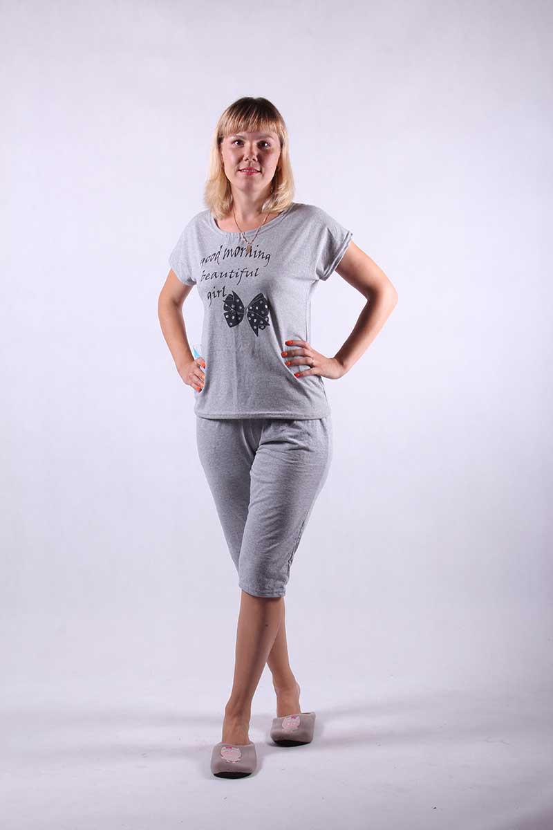 """Пижама футболка с бриджами """"Бантик"""" р.46-54"""