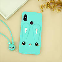 Чехол Funny-Bunny 3D для Xiaomi Redmi Note 5 Global / Note 5 Pro бампер резиновый Голубой