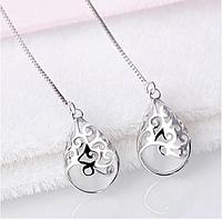 Серебряные серьги протяжки с лунным камнем Хангер серьги из стерлингового серебра 925 проба, фото 1