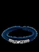 Синий шнурок с серебряной застежкой