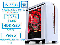 НОВЫЙ! Игровой intel i5-6500 4x(3.20-3.50)Ггц 1151 DDR4 msi aero itx radeon rx560 4ГБ