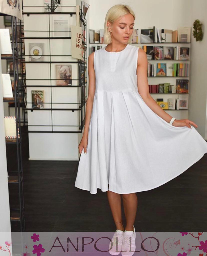 Платье сарафан летнее свободное без рукава лен