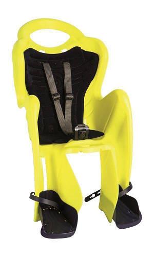 Сиденье заднее Bellelli Mr Fox Relax B-fix до 22кг, неоново-жёлтое с темно-синей подкладкой (Hi Vision)