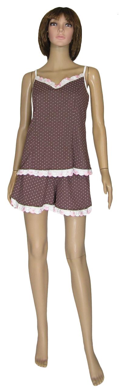 Пижама женская 03252 Неглиже Chocolate Батал с кружевом, майка и шорты, коттон