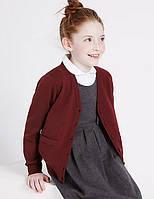 Школьный кардиган бордовый с карманами на девочку 5-6 лет Cotton Rich Burgundy Marks&Spencer (Aнглия), фото 1