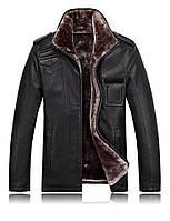 Мужская кожаная меховая куртка 2 цвета, фото 1