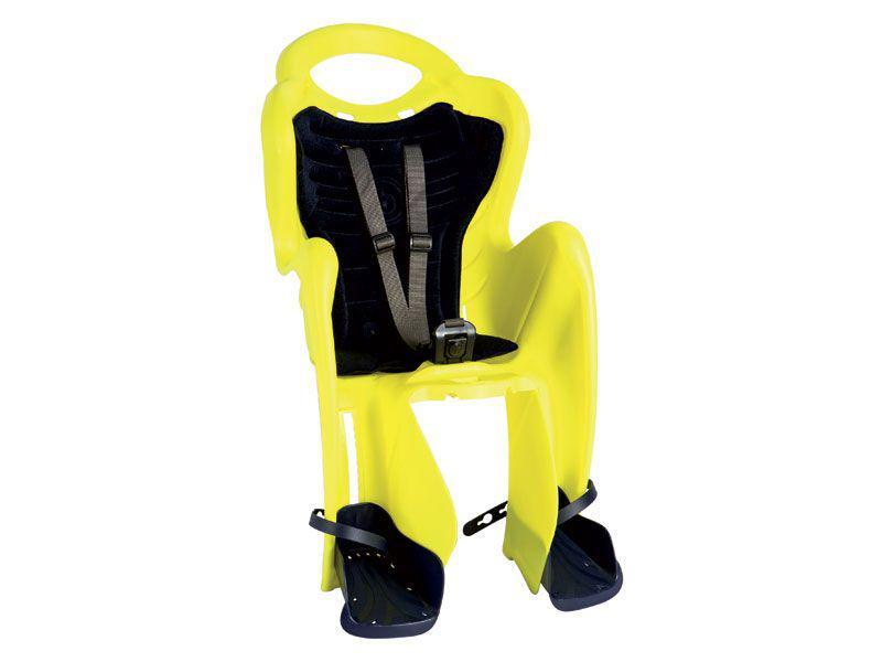 Сиденье задн. Bellelli Mr Fox Standart B-fix до 22кг, неоново-жёлтое с темно-синей подкладкой (Hi Vision)