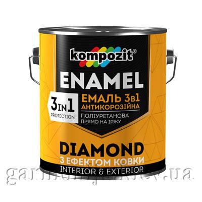 Эмаль антикоррозионная 3 в 1 DIAMOND Kompozit, 2.5 л Графит, фото 2
