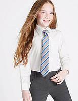 Школьнаяблузка белая с длинным рукавом на девочку  9-10-11-12 лет Хлопок Non-Iron Marks&Spencer (Англия), фото 1