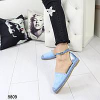 Босоножки эспадрильи летние синие с кружевом, стильные, женская летняя обувь 38 и 39, фото 1