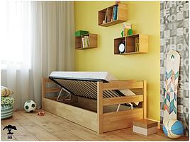 Ліжко в дитячу спальню бук з підйомним механізмом 80х200 Мілена Лев