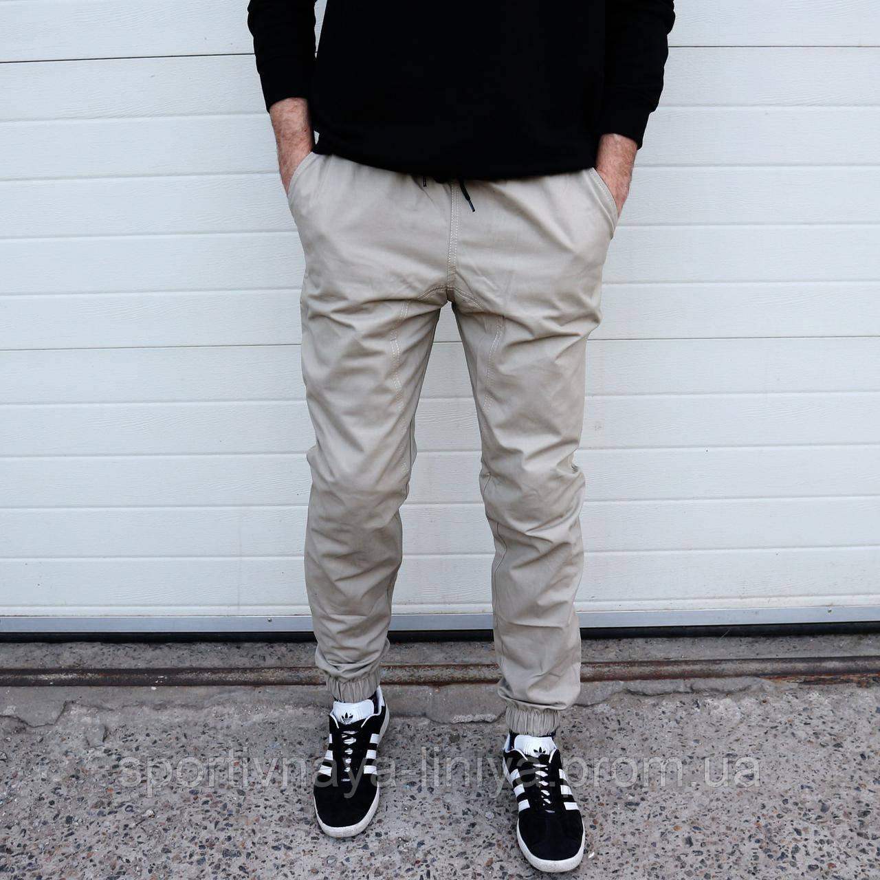 Мужские брюки Джогеры бежевые