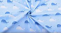 Отрез ткани киты на голубом 40 х 50 см., фото 1
