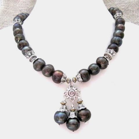 Колье, браслет, серьги - натуральный черный жемчуг
