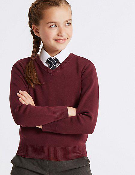 Школьный джемпер бордовый на девочку 5-6, 7-8, 9-10 лет Cotton Rich Burgundy Marks&Spencer (Англия)