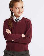 Школьный джемпер бордовый на девочку 5-6, 7-8, 9-10 лет Cotton Rich Burgundy Marks&Spencer (Англия), фото 1