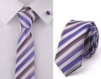 Галстук белый в фиолетовую полоску