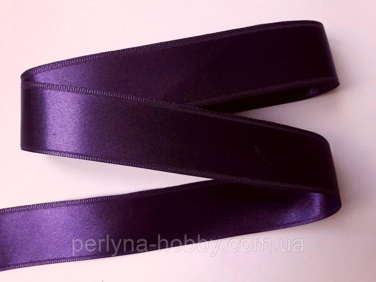 Стрічка атласна  двостороння 3 см ( 10 метрів) фіолетова