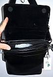 Мужская черная кожаная барсетка с расширителем 23*27 см, фото 4