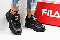 Женские черные кроссовки Fila,  кроссовки женские Фила,легкие, стильные