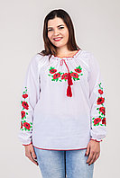 Женская вышиванка большого размера Маки. Размеры 50 - 60.