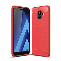 Чехол Carbon для Samsung A6 2018 / A600 бампер Red