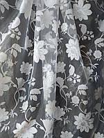 Белая органза с цветочным принтом, оптом, фото 1