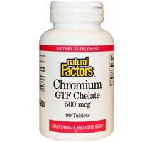 Хром  хелат  500 мкг  90 табл для похудения, снижение  сахара в крови Natural Factors USA