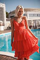 Платье шифоновое красивое нежное с пышной юбкой с воланами миди Smdi2488, фото 1