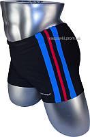 Мужские плавки боксеры Atlantic beach 79188 черный полоска красная и синяя