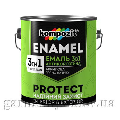 Эмаль антикоррозионная 3 в 1 PROTECT Kompozit, 0.75 кг Синий