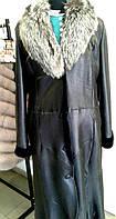 Кожаная длинная дубленка женская, овчина, с воротником из чернобурки, фото 1