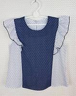 Блузка в горошек с крылышком р.122-146 белый+ темно-синий , фото 1