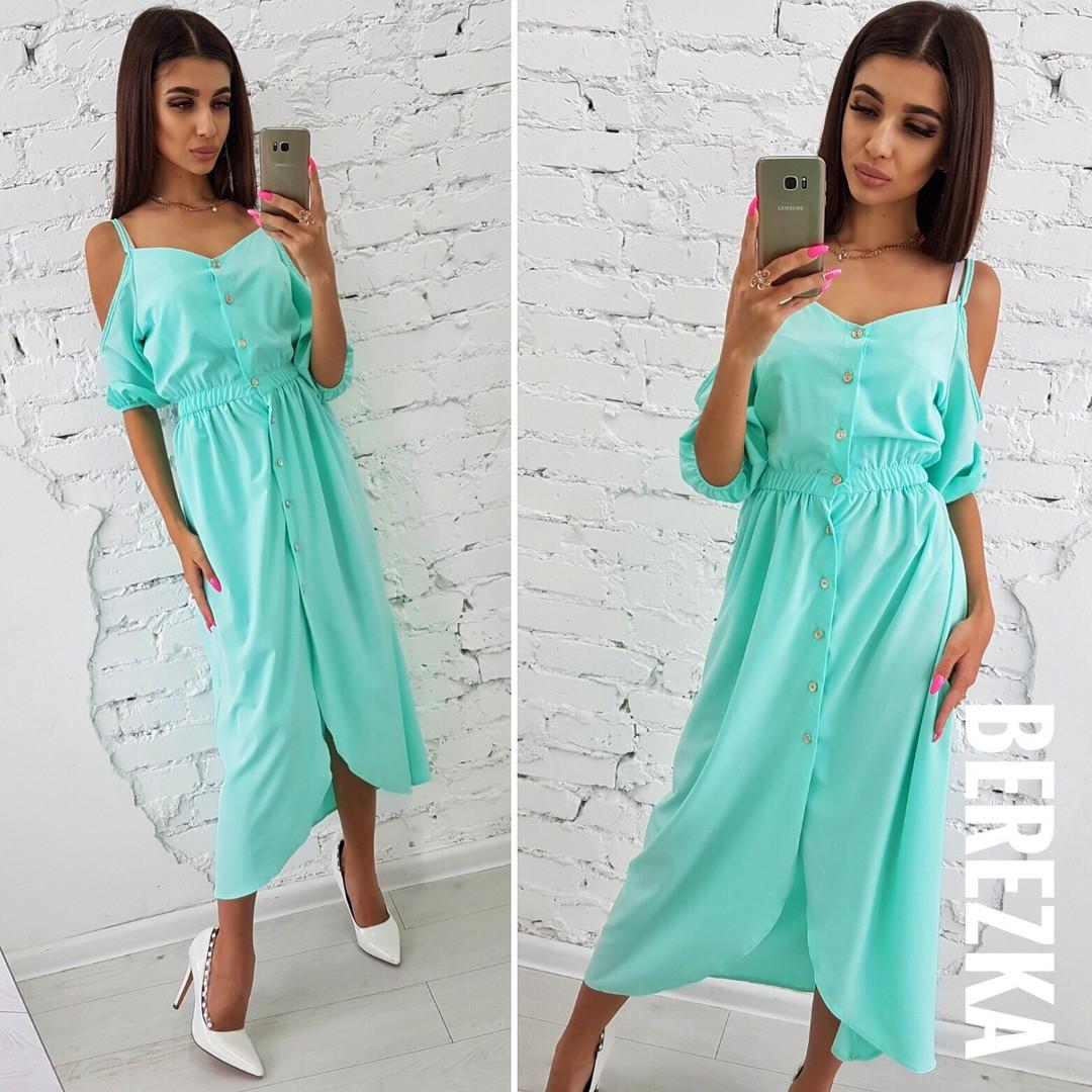 dc1cf1f2c73 Длинное летнее платье на пуговицах спереди