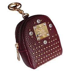 Брелок мини-рюкзачок со стразами бордовый