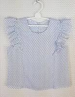 Блузка в горошек с крылышком р.122-146 белый
