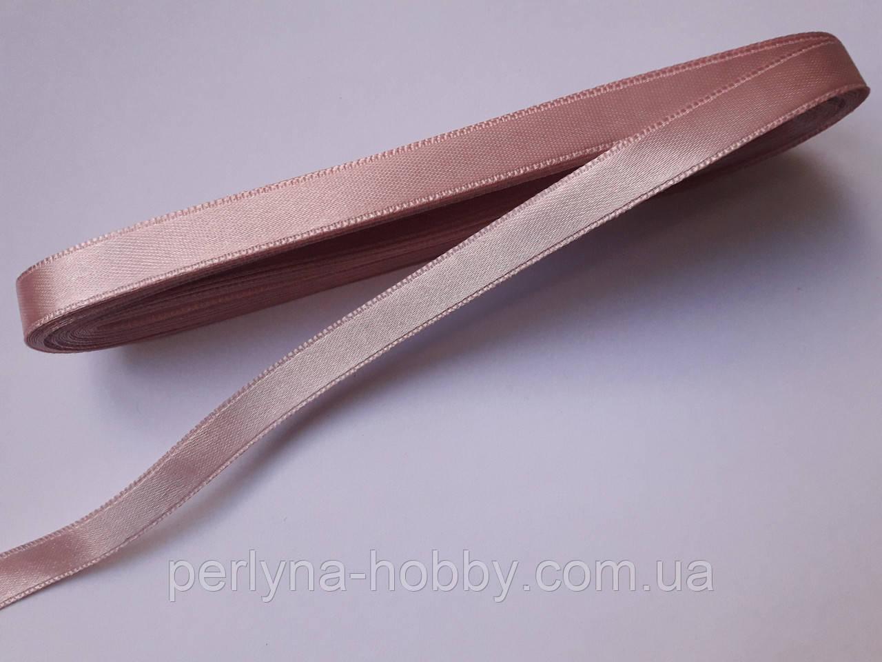 Стрічка атласна  двостороння 1 см ( 10 метрів) рожево попеляста