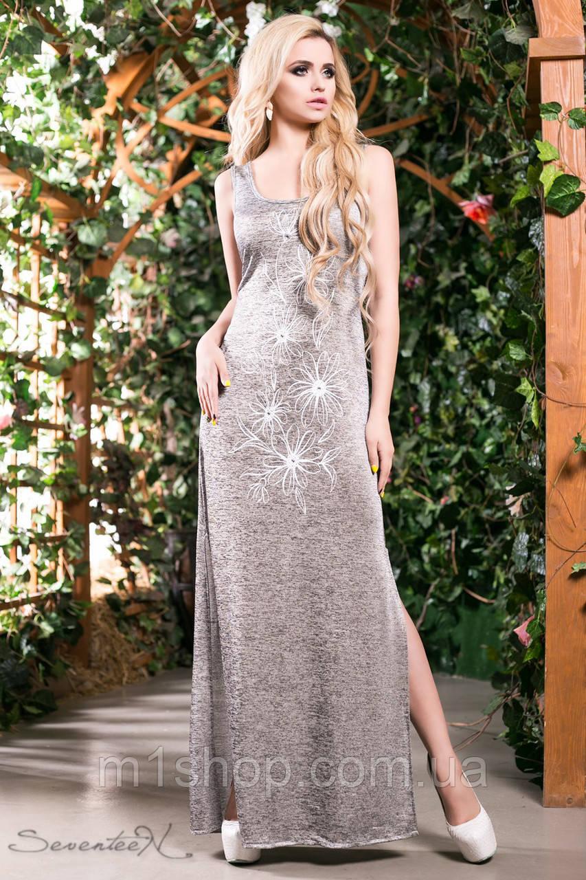 Женское платье в пол серебряного цвета (1384 svt)