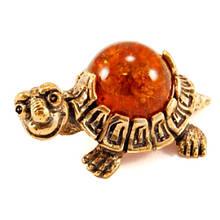 Сувенир из бронзы и янтаря Черепаха миниатюра