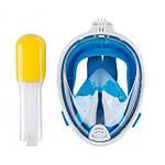 Инновационная маска для снорклинга подводного плавания Easybreath голубая, фото 3