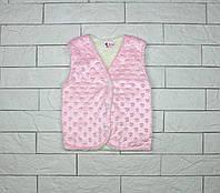 Утепленная жилетка розовым цветом на кнопках для девочки, фото 1