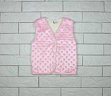 Утепленная жилетка розовым цветом на кнопках для девочки