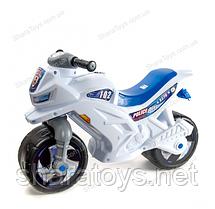 Велобег мотоцикл с сигналом белый